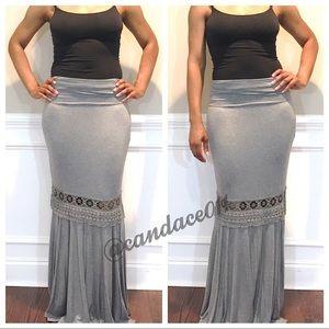 Lace Insert Maxi Skirt (Grey)